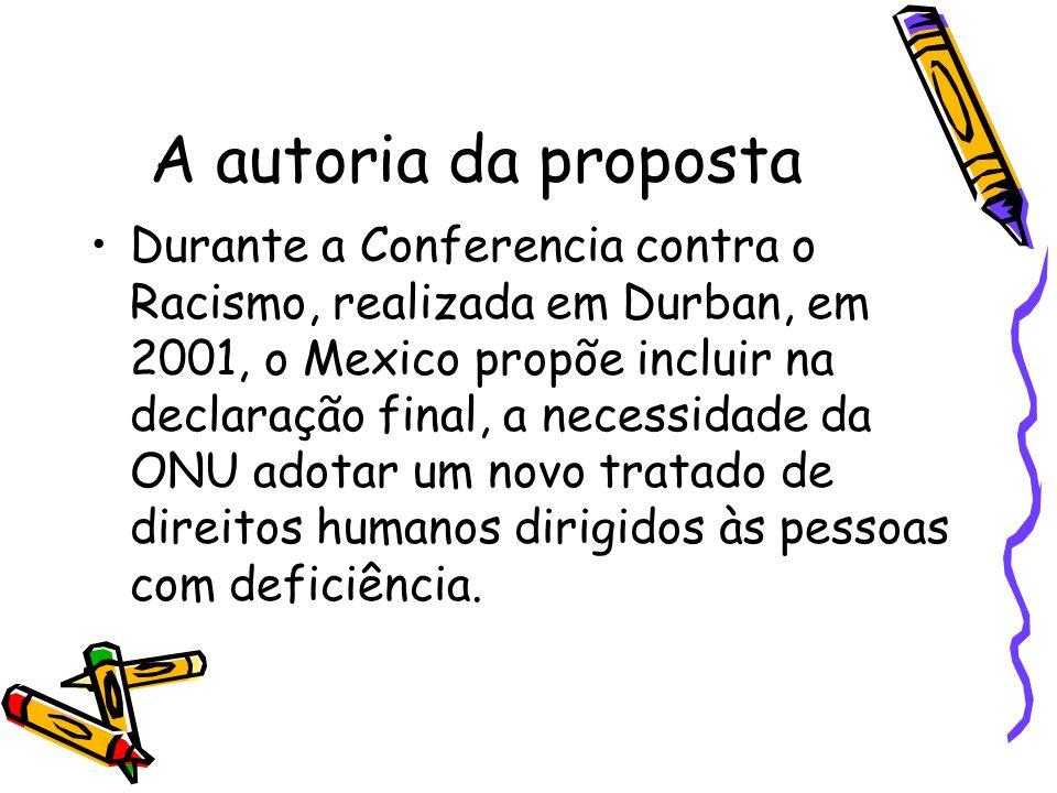 A autoria da proposta Durante a Conferencia contra o Racismo, realizada em Durban, em 2001, o Mexico propõe incluir na declaração final, a necessidade