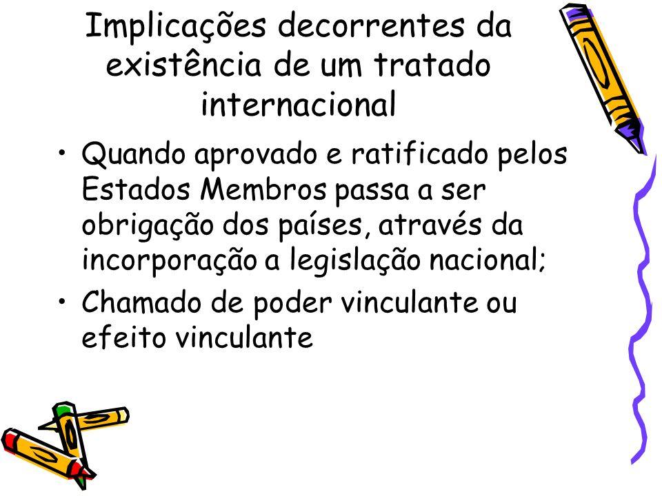 Implicações decorrentes da existência de um tratado internacional Quando aprovado e ratificado pelos Estados Membros passa a ser obrigação dos países,