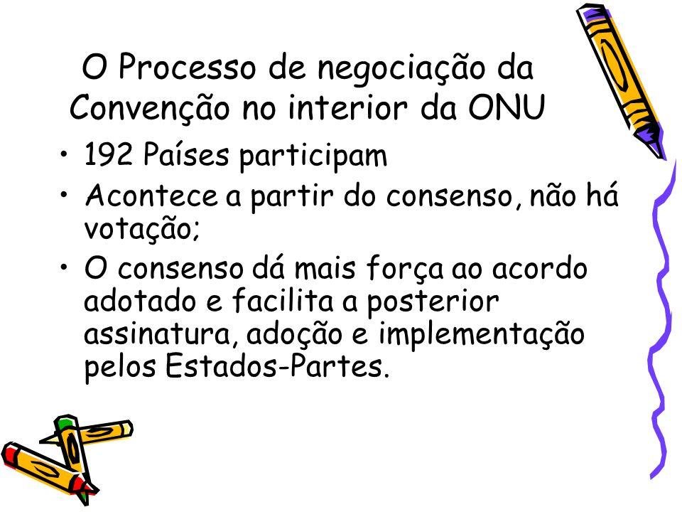 O Processo de negociação da Convenção no interior da ONU 192 Países participam Acontece a partir do consenso, não há votação; O consenso dá mais força