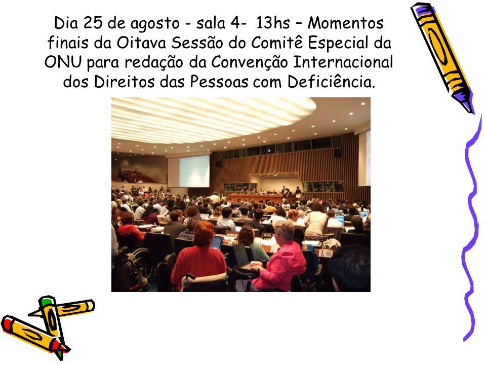 Dia 25 de agosto - sala 4- 13hs – Momentos finais da Oitava Sessão do Comitê Especial da ONU para redação da Convenção Internacional dos Direitos das