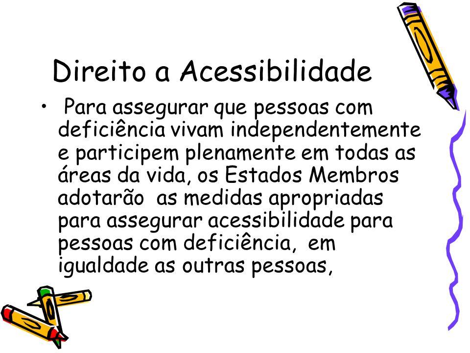 Direito a Acessibilidade Para assegurar que pessoas com deficiência vivam independentemente e participem plenamente em todas as áreas da vida, os Esta