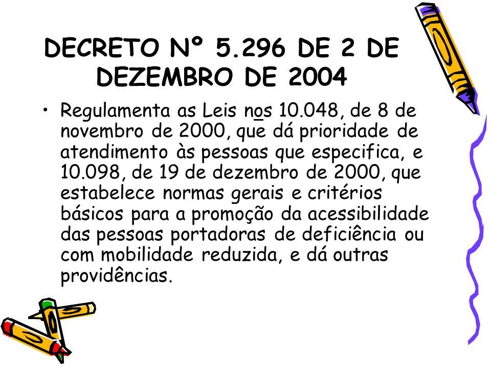 DECRETO Nº 5.296 DE 2 DE DEZEMBRO DE 2004 Regulamenta as Leis nos 10.048, de 8 de novembro de 2000, que dá prioridade de atendimento às pessoas que es