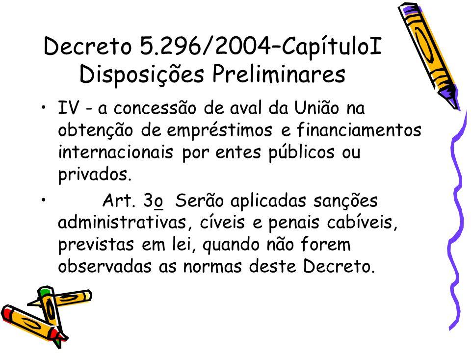 Decreto 5.296/2004–CapítuloI Disposições Preliminares IV - a concessão de aval da União na obtenção de empréstimos e financiamentos internacionais por
