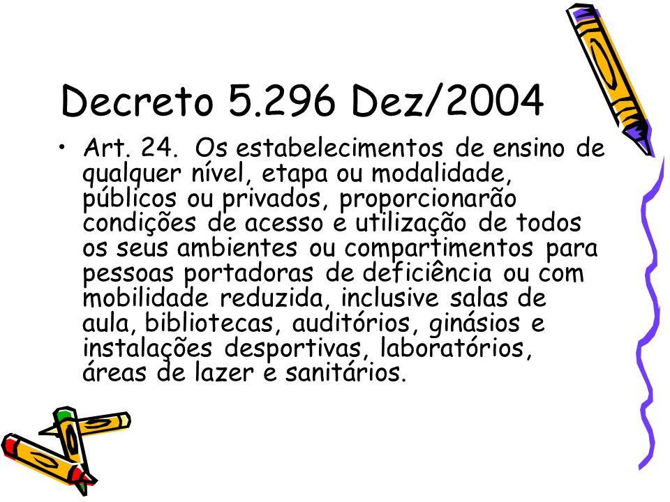 Decreto 5.296 Dez/2004 Art. 24. Os estabelecimentos de ensino de qualquer nível, etapa ou modalidade, públicos ou privados, proporcionarão condições d