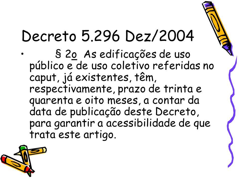 Decreto 5.296 Dez/2004 § 2o As edificações de uso público e de uso coletivo referidas no caput, já existentes, têm, respectivamente, prazo de trinta e