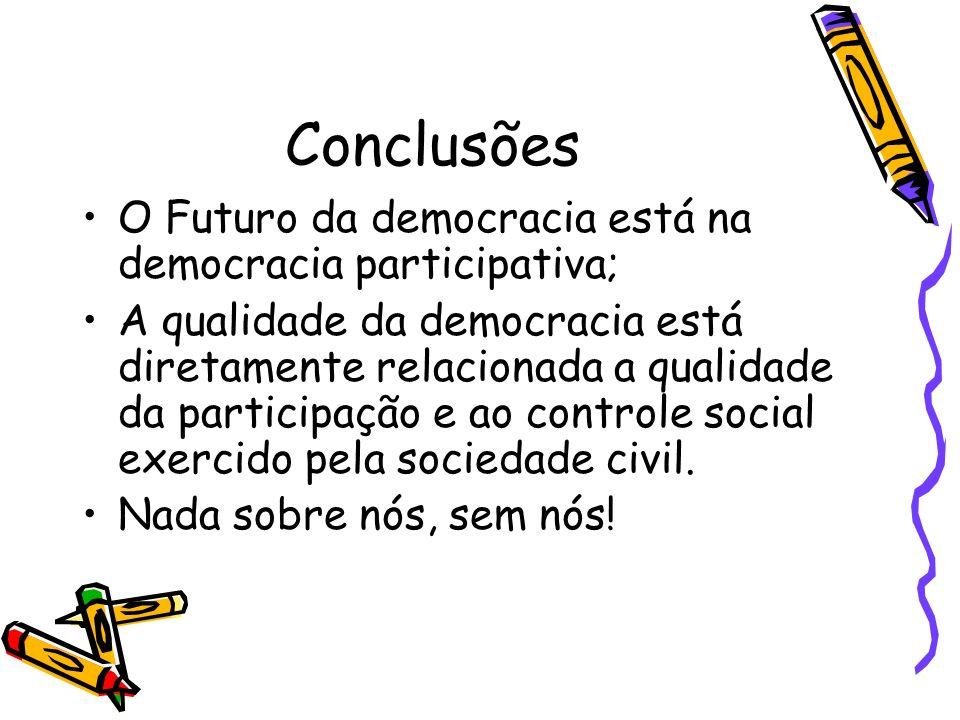 Conclusões O Futuro da democracia está na democracia participativa; A qualidade da democracia está diretamente relacionada a qualidade da participação