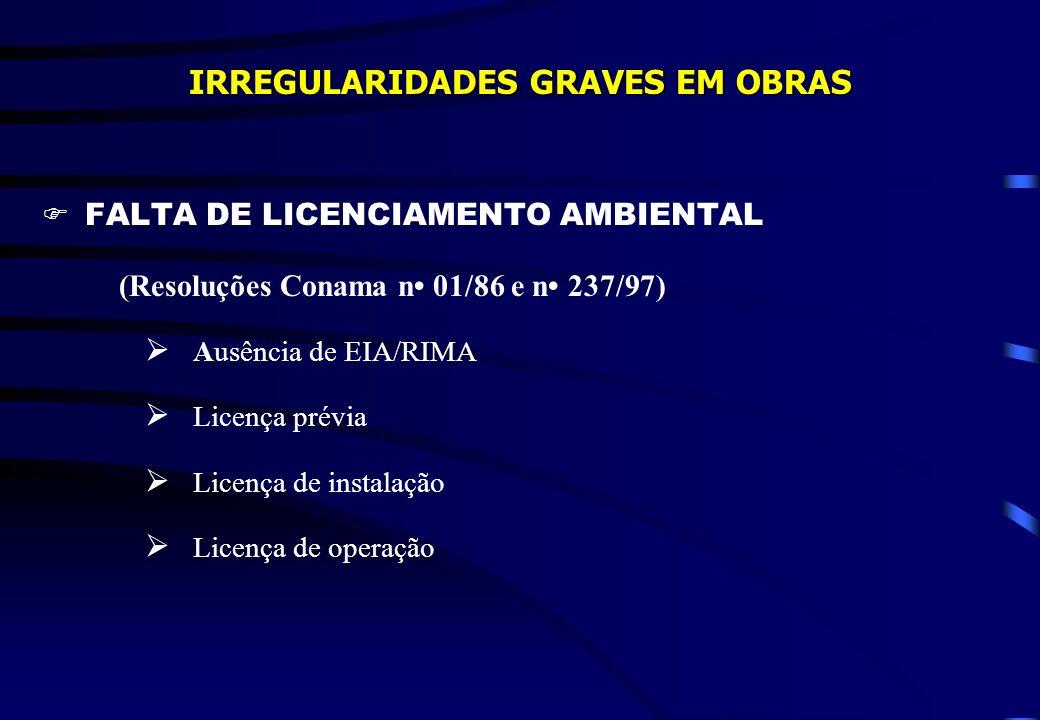 IRREGULARIDADES GRAVES EM OBRAS FALTA DE LICENCIAMENTO AMBIENTAL (Resoluções Conama n 01/86 e n 237/97) Ausência de EIA/RIMA Licença prévia Licença de