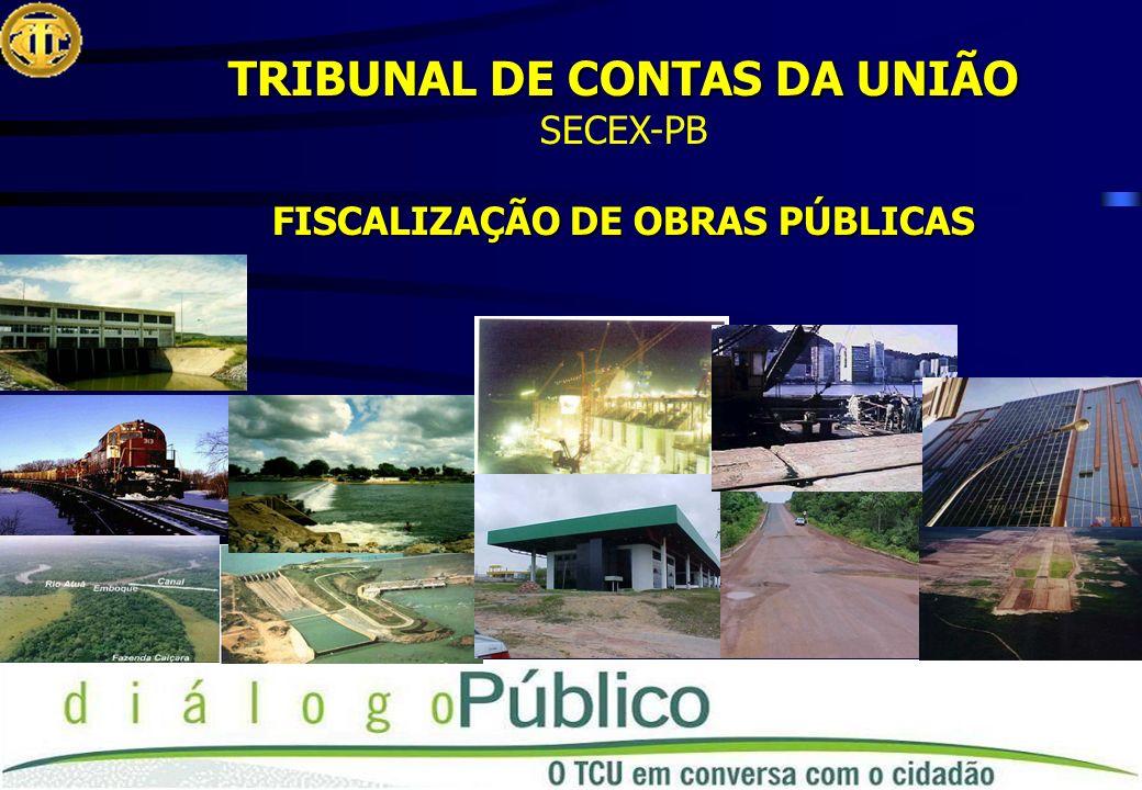 TRIBUNAL DE CONTAS DA UNIÃO SECEX-PB FISCALIZAÇÃO DE OBRAS PÚBLICAS
