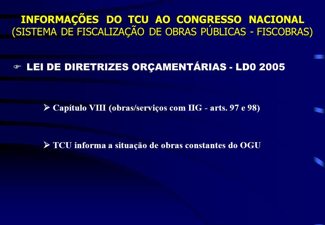 LEI DE DIRETRIZES ORÇAMENTÁRIAS - LD0 2005 Capítulo VIII (obras/serviços com IIG - arts. 97 e 98) TCU informa a situação de obras constantes do OGU