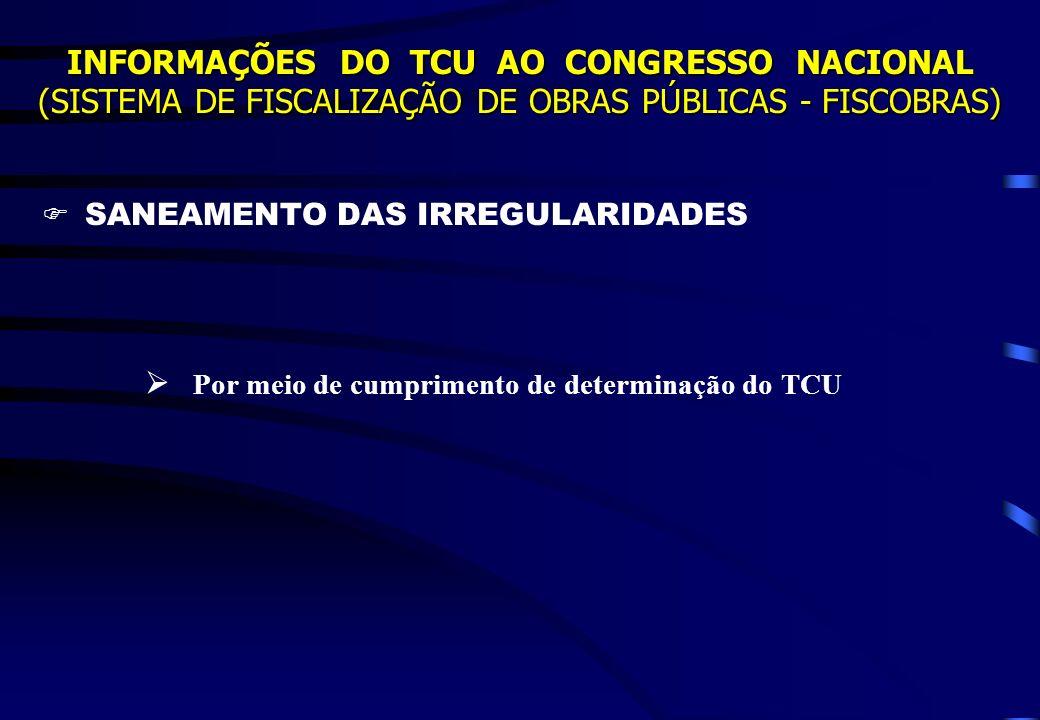 INFORMAÇÕES DO TCU AO CONGRESSO NACIONAL (SISTEMA DE FISCALIZAÇÃO DE OBRAS PÚBLICAS - FISCOBRAS) SANEAMENTO DAS IRREGULARIDADES Por meio de cumpriment