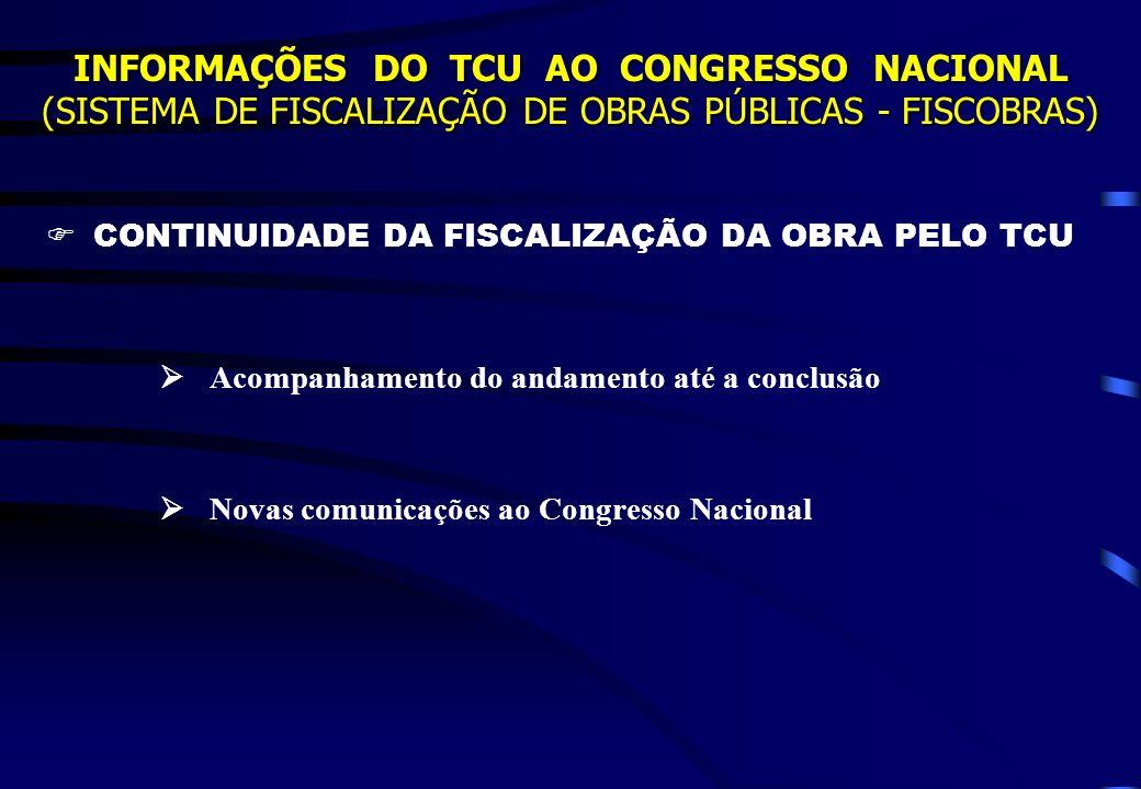 INFORMAÇÕES DO TCU AO CONGRESSO NACIONAL (SISTEMA DE FISCALIZAÇÃO DE OBRAS PÚBLICAS - FISCOBRAS) CONTINUIDADE DA FISCALIZAÇÃO DA OBRA PELO TCU Acompan
