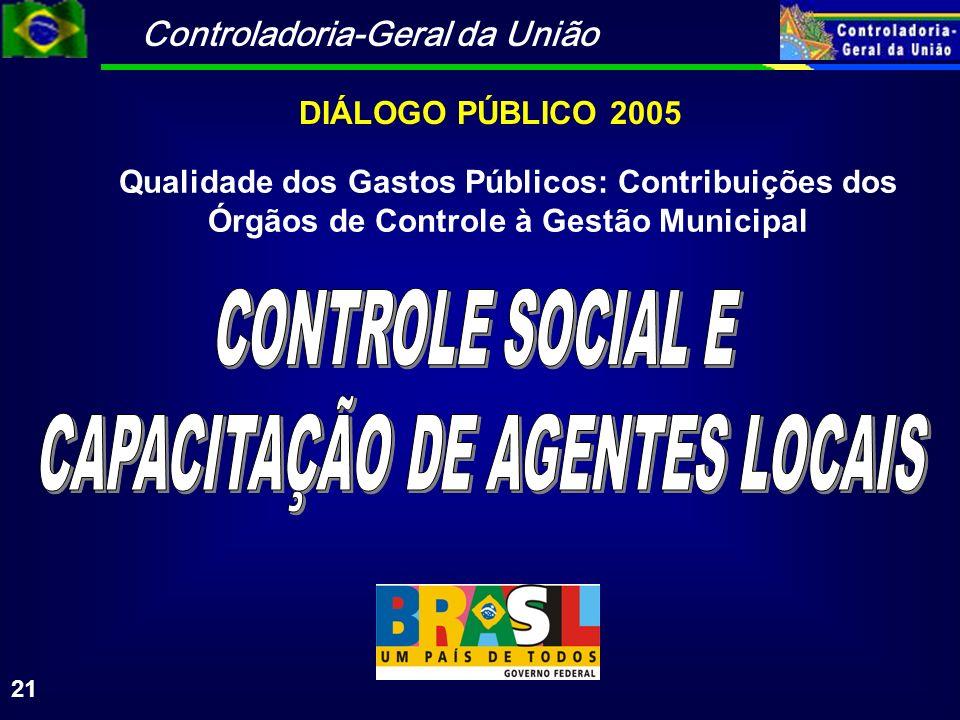 Controladoria-Geral da União 21 DIÁLOGO PÚBLICO 2005 Qualidade dos Gastos Públicos: Contribuições dos Órgãos de Controle à Gestão Municipal