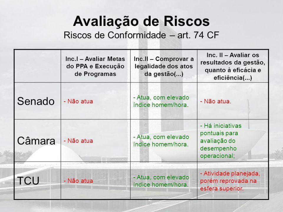 Avaliação de Riscos Riscos de Conformidade – art. 74 CF Inc.I – Avaliar Metas do PPA e Execução de Programas Inc.II – Comprovar a legalidade dos atos