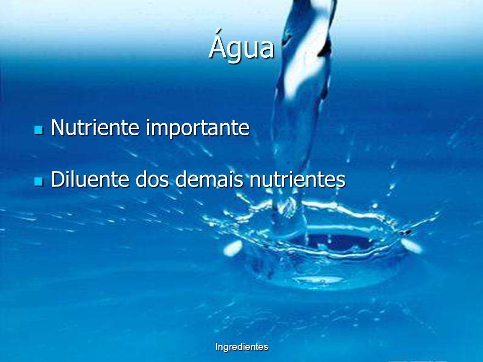 Ingredientes Água Permite o transporte de nutrientes Retira as sustâncias tóxicas Dissipa o calor corporal Da forma ao corpo Permite a diluição das substâncias Permite as reações químicas Permite a lubrificação