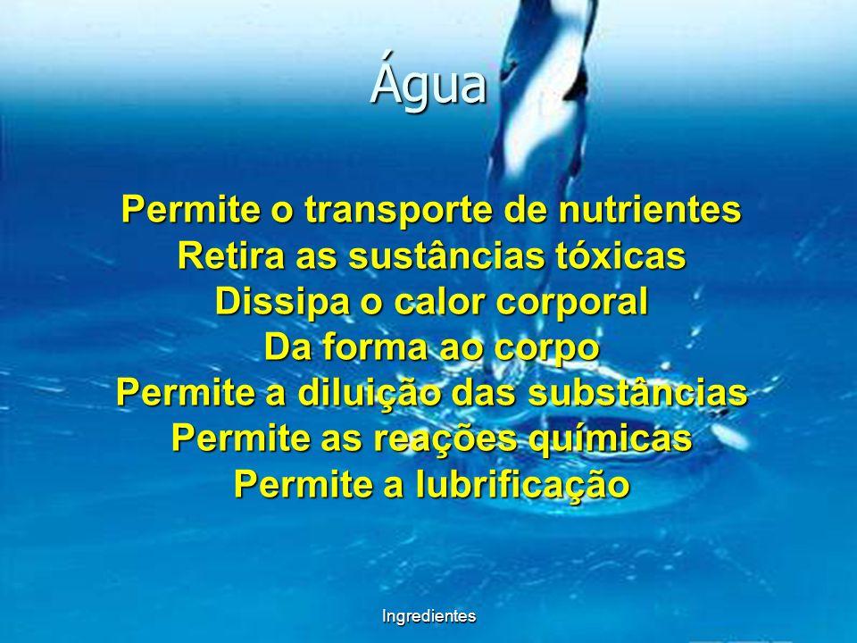 Ingredientes Água Permite o transporte de nutrientes Retira as sustâncias tóxicas Dissipa o calor corporal Da forma ao corpo Permite a diluição das su