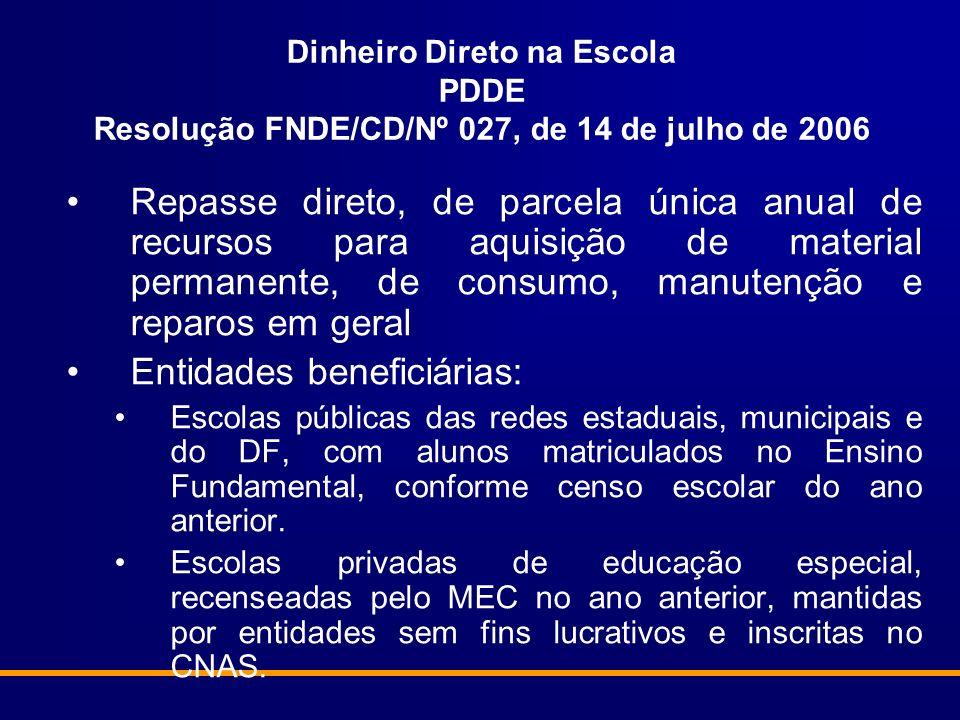Dinheiro Direto na Escola PDDE Resolução FNDE/CD/Nº 027, de 14 de julho de 2006 Repasse direto, de parcela única anual de recursos para aquisição de m