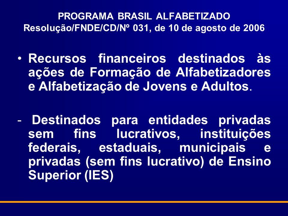 PROGRAMA BRASIL ALFABETIZADO Resolução/FNDE/CD/Nº 031, de 10 de agosto de 2006 Recursos financeiros destinados às ações de Formação de Alfabetizadores