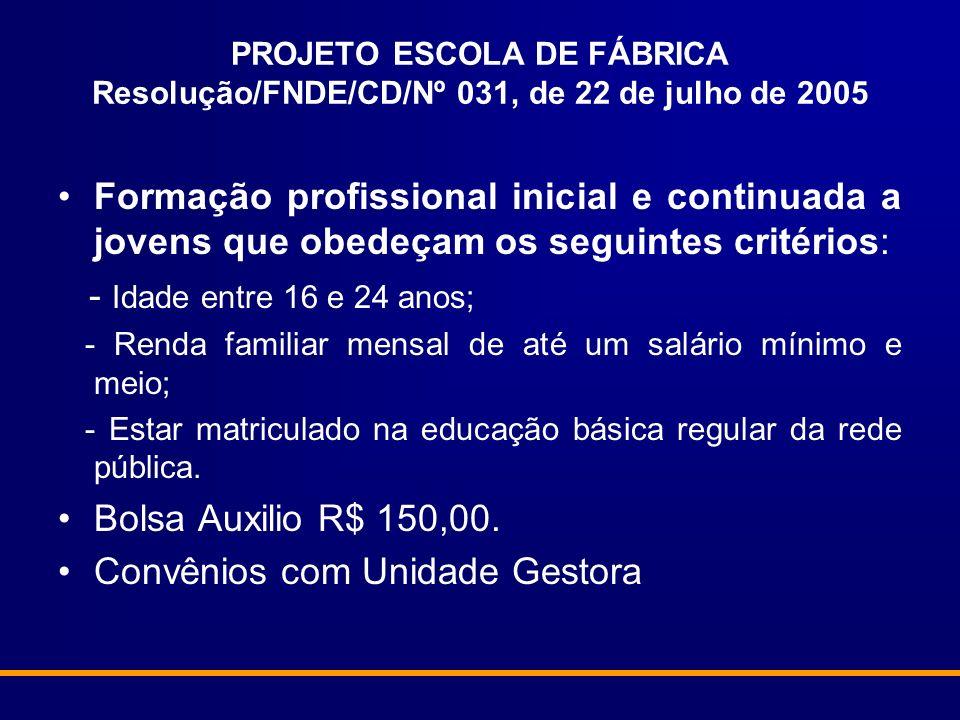 PROJETO ESCOLA DE FÁBRICA Resolução/FNDE/CD/Nº 031, de 22 de julho de 2005 Formação profissional inicial e continuada a jovens que obedeçam os seguint