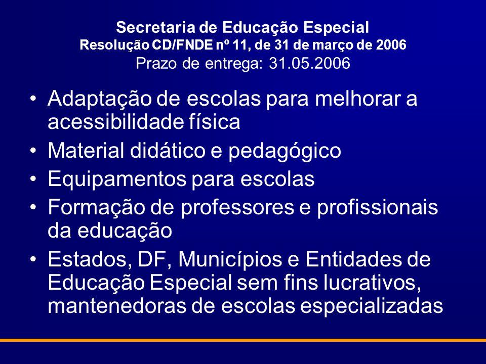 Secretaria de Educação Especial Resolução CD/FNDE nº 11, de 31 de março de 2006 Prazo de entrega: 31.05.2006 Adaptação de escolas para melhorar a aces