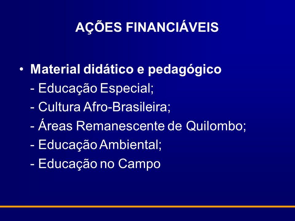 AÇÕES FINANCIÁVEIS Material didático e pedagógico - Educação Especial; - Cultura Afro-Brasileira; - Áreas Remanescente de Quilombo; - Educação Ambient
