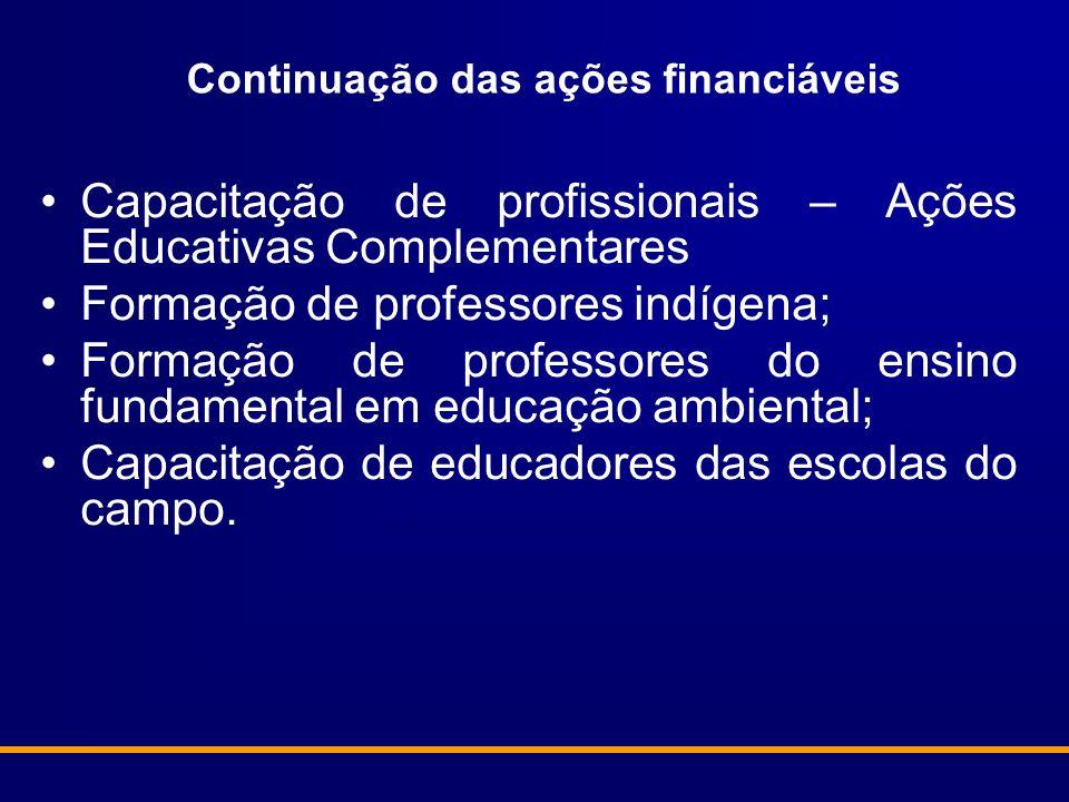 Continuação das ações financiáveis Capacitação de profissionais – Ações Educativas Complementares Formação de professores indígena; Formação de profes