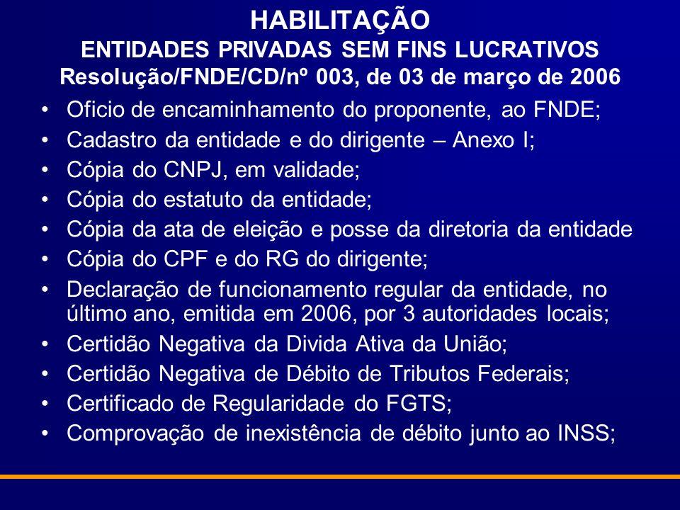 HABILITAÇÃO ENTIDADES PRIVADAS SEM FINS LUCRATIVOS Resolução/FNDE/CD/nº 003, de 03 de março de 2006 Oficio de encaminhamento do proponente, ao FNDE; C