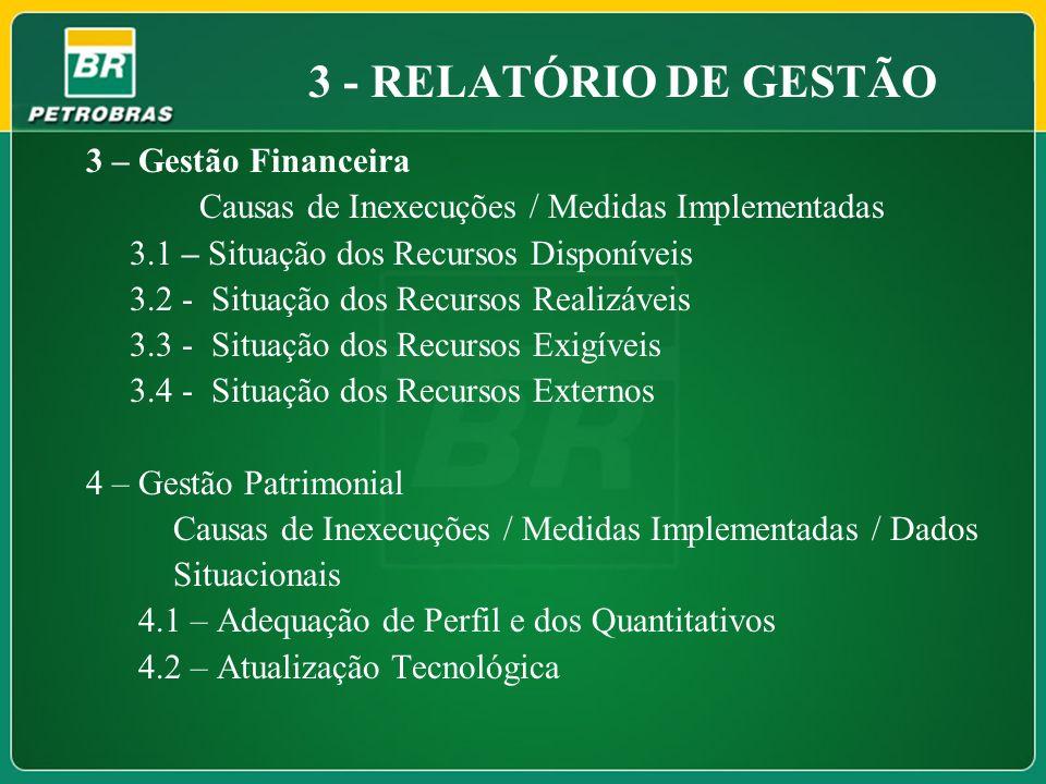 3 – Gestão Financeira Causas de Inexecuções / Medidas Implementadas 3.1 – Situação dos Recursos Disponíveis 3.2 - Situação dos Recursos Realizáveis 3.