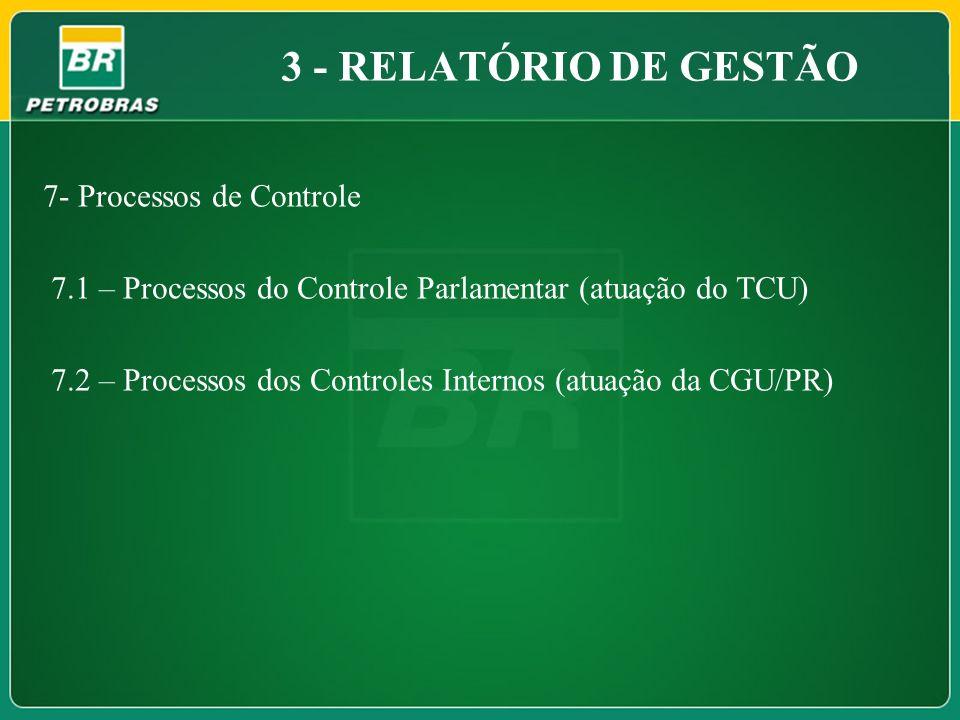 7- Processos de Controle 7.1 – Processos do Controle Parlamentar (atuação do TCU) 7.2 – Processos dos Controles Internos (atuação da CGU/PR) 3 - RELAT