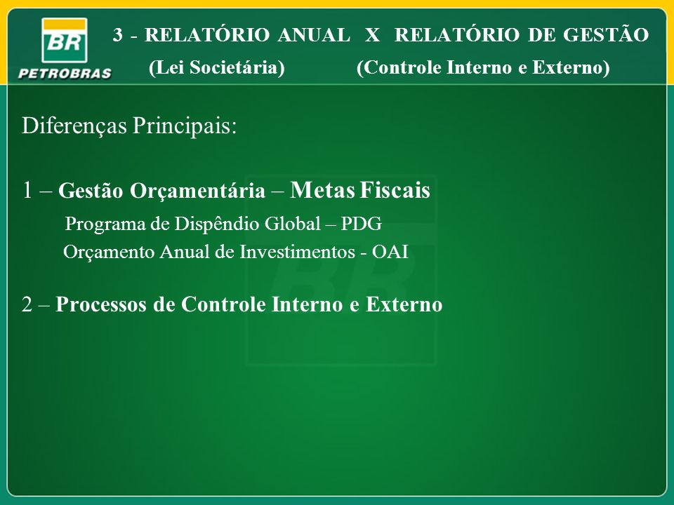 3 - RELATÓRIO ANUAL X RELATÓRIO DE GESTÃO (Lei Societária) (Controle Interno e Externo) Diferenças Principais: 1 – Gestão Orçamentária – Metas Fiscais