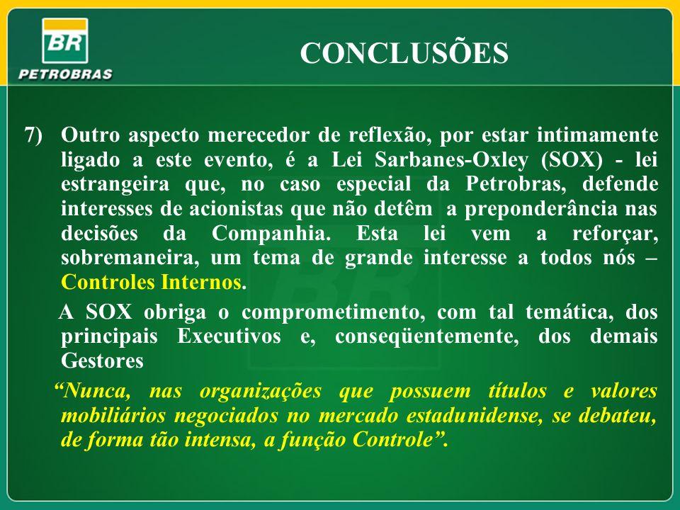 CONCLUSÕES 7)Outro aspecto merecedor de reflexão, por estar intimamente ligado a este evento, é a Lei Sarbanes-Oxley (SOX) - lei estrangeira que, no c