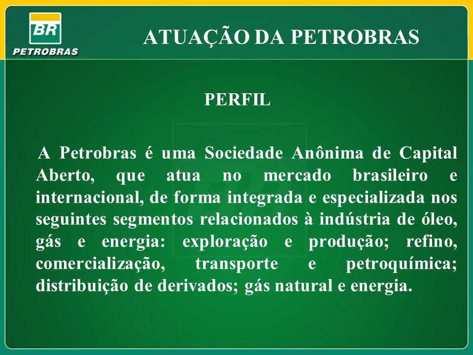 ATUAÇÃO DA PETROBRAS PERFIL A Petrobras é uma Sociedade Anônima de Capital Aberto, que atua no mercado brasileiro e internacional, de forma integrada