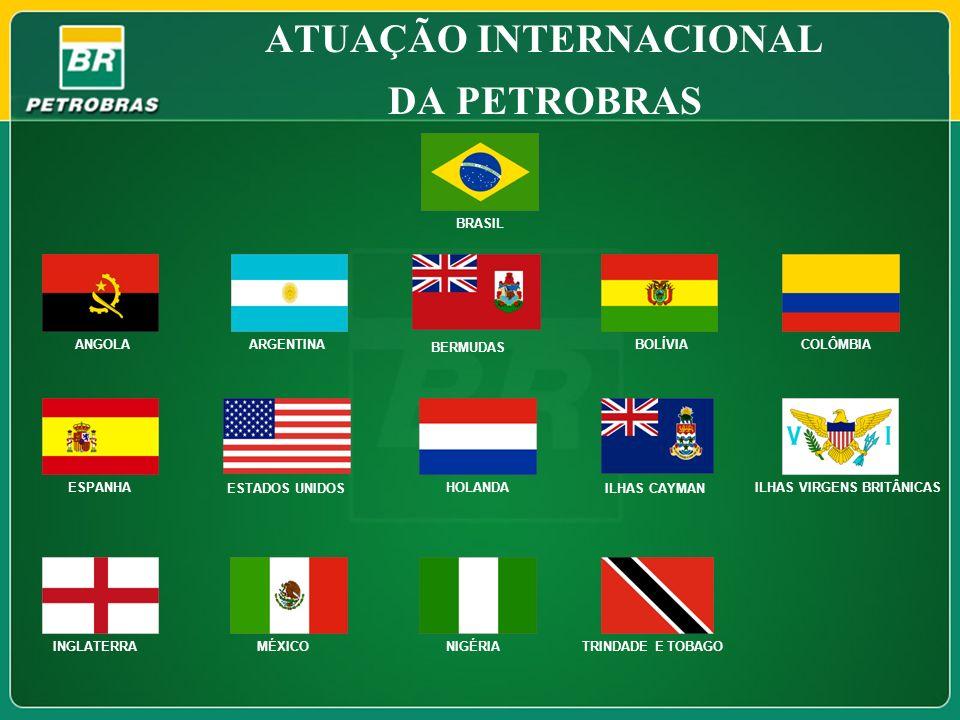 ATUAÇÃO INTERNACIONAL DA PETROBRAS COLÔMBIA ESPANHA ESTADOS UNIDOS HOLANDA ILHAS CAYMAN ILHAS VIRGENS BRITÂNICAS TRINDADE E TOBAGO INGLATERRAMÉXICONIG