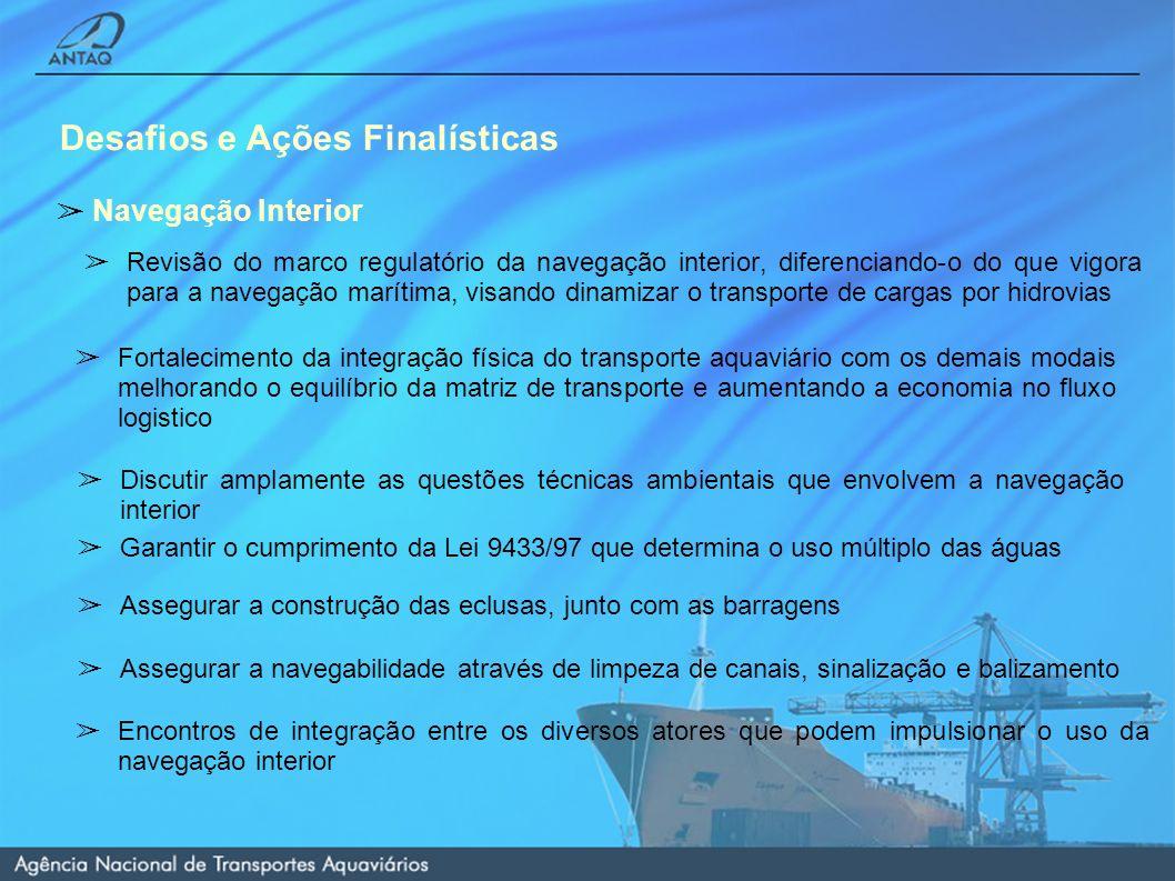 Desafios e Ações Finalísticas Navegação Interior Revisão do marco regulatório da navegação interior, diferenciando-o do que vigora para a navegação marítima, visando dinamizar o transporte de cargas por hidrovias Revisão do marco regulatório da navegação interior, diferenciando-o do que vigora para a navegação marítima, visando dinamizar o transporte de cargas por hidrovias Encontros de integração entre os diversos atores que podem impulsionar o uso da navegação interior Discutir amplamente as questões técnicas ambientais que envolvem a navegação interior Fortalecimento da integração física do transporte aquaviário com os demais modais melhorando o equilíbrio da matriz de transporte e aumentando a economia no fluxo logistico Garantir o cumprimento da Lei 9433/97 que determina o uso múltiplo das águas Assegurar a construção das eclusas, junto com as barragens Assegurar a navegabilidade através de limpeza de canais, sinalização e balizamento