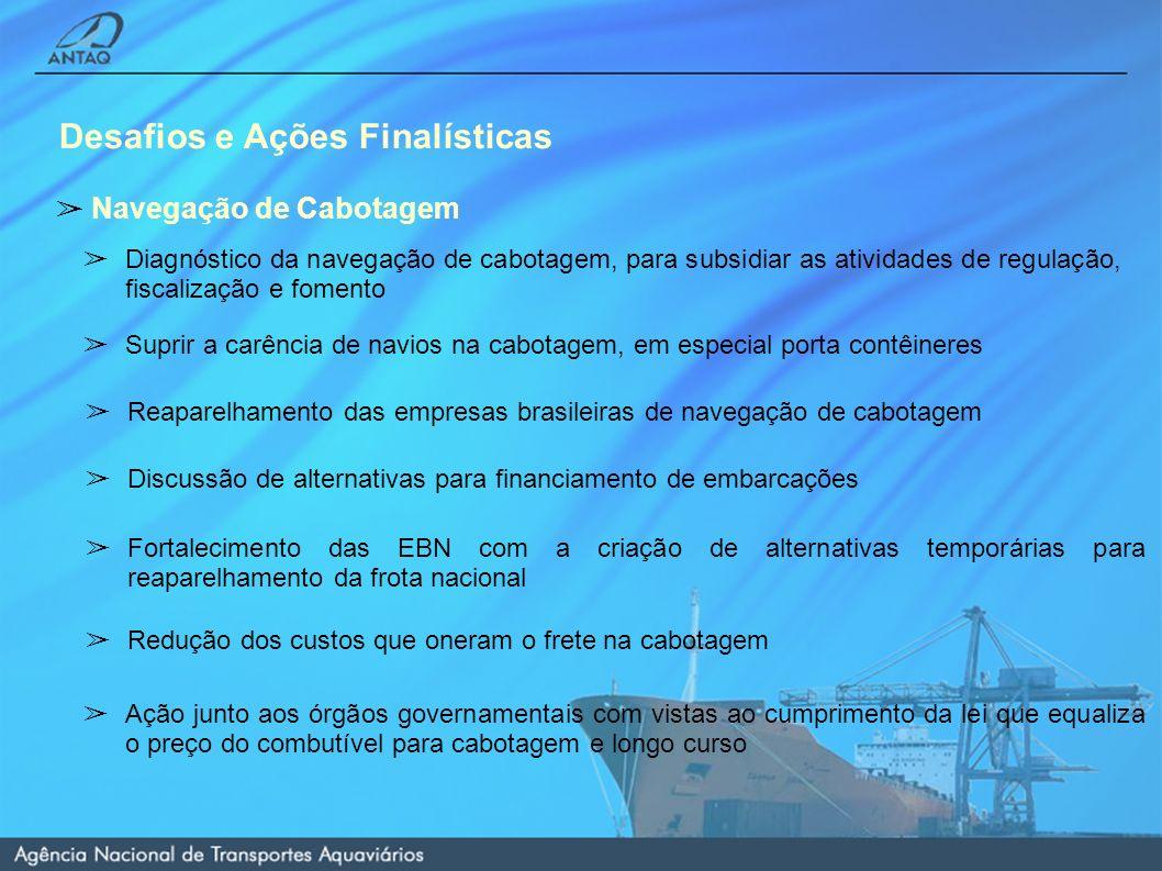 Desafios e Ações Finalísticas Navegação de Cabotagem Diagnóstico da navegação de cabotagem, para subsidiar as atividades de regulação, fiscalização e