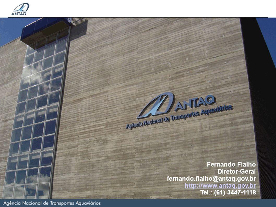 Nome do Palestrante Sobrenome Cargo do Palestrante palestrante.palestrante@antaq.gov.br http://www.antaq.gov.br Fernando Fialho Diretor-Geral fernando.fialho@antaq.gov.br http://www.antaq.gov.br Tel.: (61) 347-1118 Fernando Fialho Diretor-Geral fernando.fialho@antaq.gov.br http://www.antaq.gov.br Tel.: (61) 3447-1118