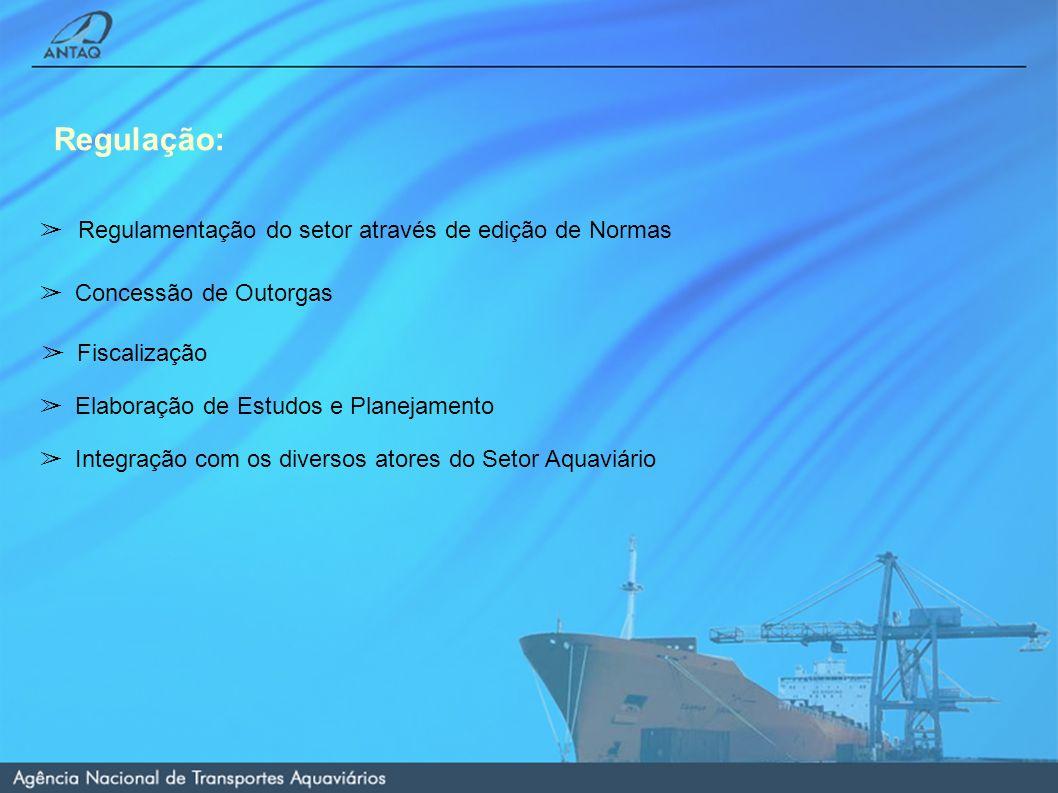 Regulamentação do setor através de edição de Normas Regulação: Concessão de Outorgas Fiscalização Elaboração de Estudos e Planejamento Integração com os diversos atores do Setor Aquaviário