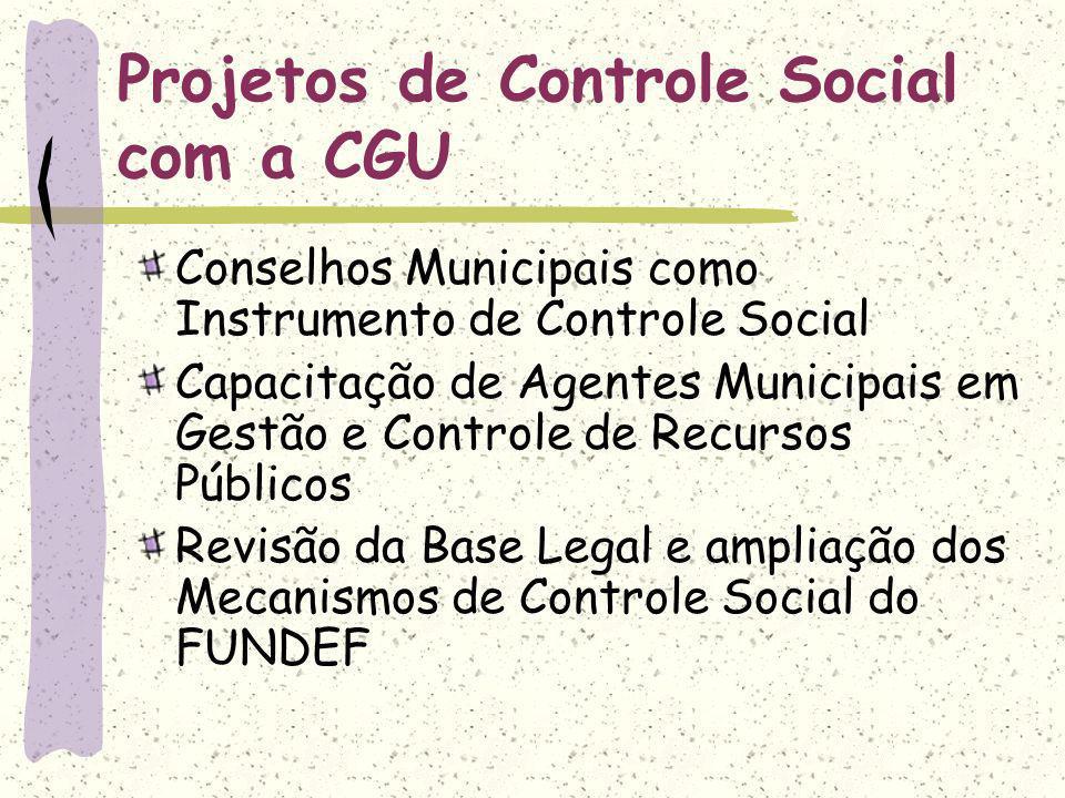 Projetos de Controle Social com a CGU Conselhos Municipais como Instrumento de Controle Social Capacitação de Agentes Municipais em Gestão e Controle de Recursos Públicos Revisão da Base Legal e ampliação dos Mecanismos de Controle Social do FUNDEF