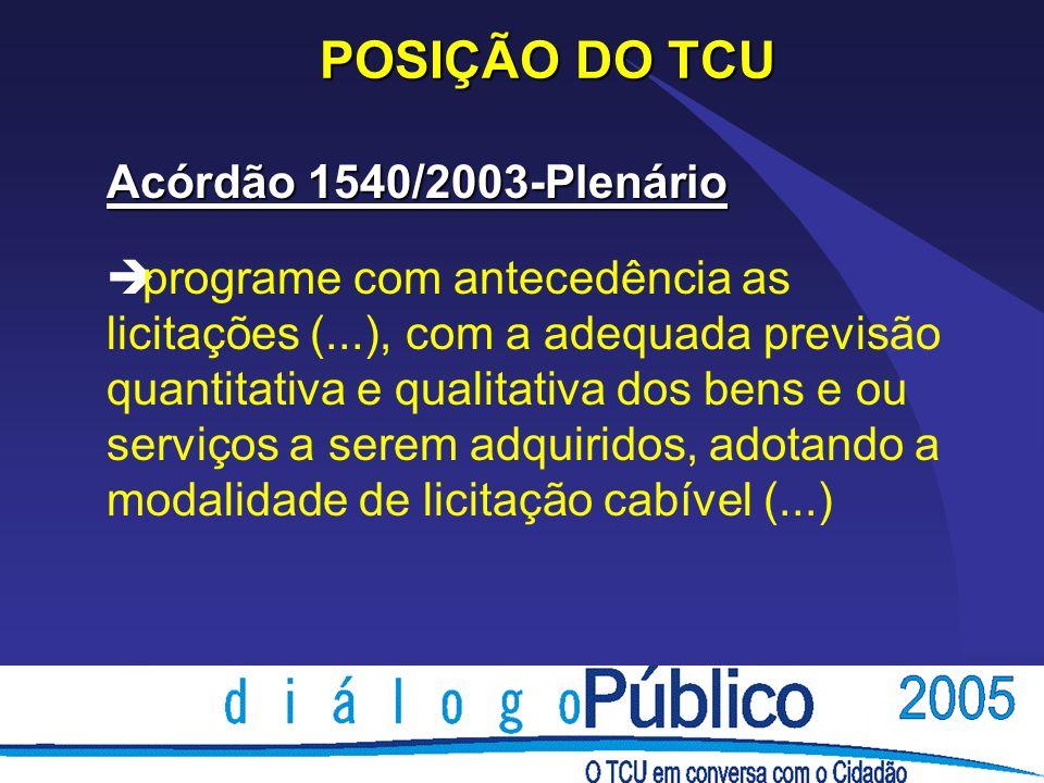 POSIÇÃO DO TCU Acórdão 1540/2003-Plenário è programe com antecedência as licitações (...), com a adequada previsão quantitativa e qualitativa dos bens