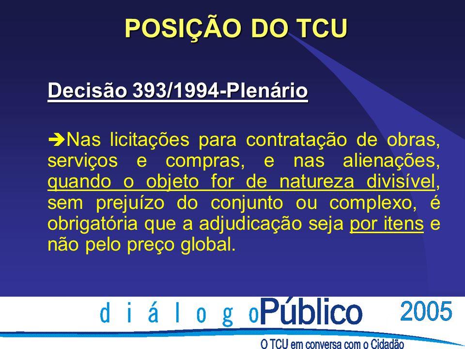 POSIÇÃO DO TCU Decisão 393/1994-Plenário è Nas licitações para contratação de obras, serviços e compras, e nas alienações, quando o objeto for de natu