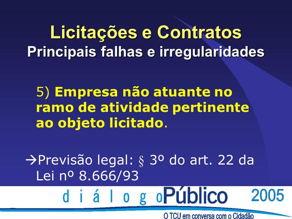 Licitações e Contratos Principais falhas e irregularidades 5) Empresa não atuante no ramo de atividade pertinente ao objeto licitado. Previsão legal: