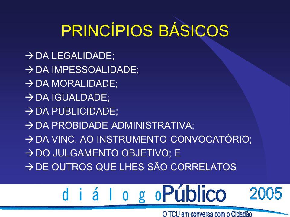 PRINCÍPIOS BÁSICOS DA LEGALIDADE; DA IMPESSOALIDADE; DA MORALIDADE; DA IGUALDADE; DA PUBLICIDADE; DA PROBIDADE ADMINISTRATIVA; DA VINC. AO INSTRUMENTO