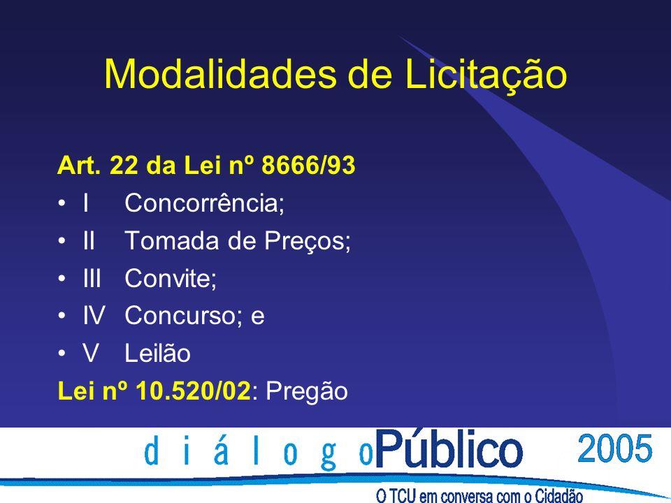 Modalidades de Licitação Art. 22 da Lei nº 8666/93 IConcorrência; IITomada de Preços; IIIConvite; IVConcurso; e VLeilão Lei nº 10.520/02: Pregão