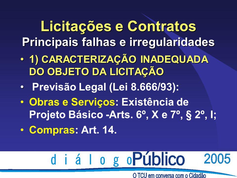 Licitações e Contratos Principais falhas e irregularidades 5) Empresa não atuante no ramo de atividade pertinente ao objeto licitado.