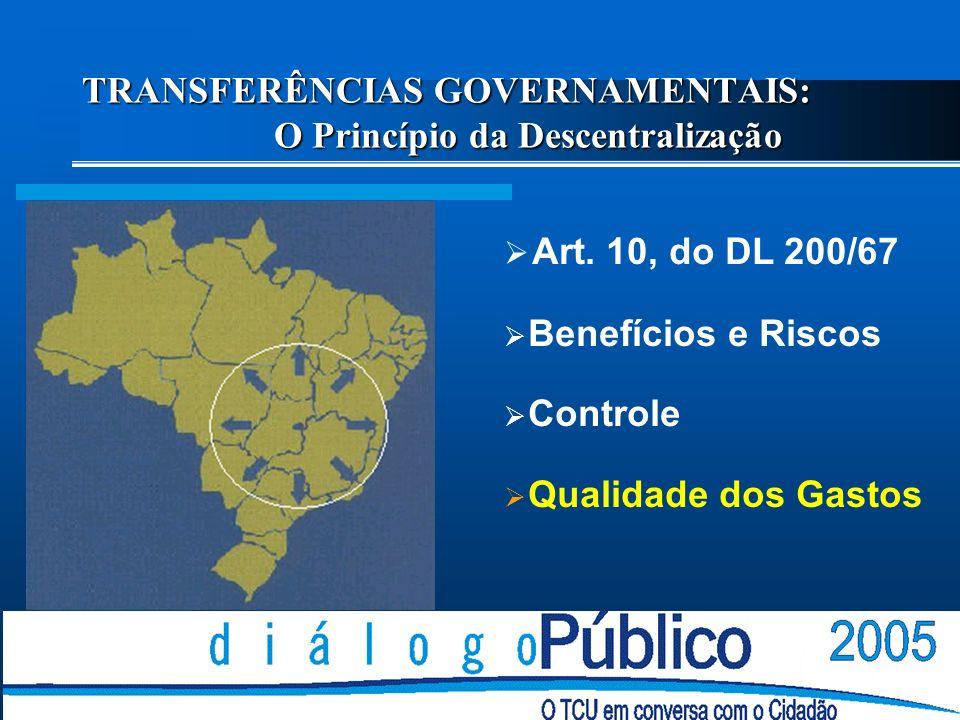 TRANSFERÊNCIAS GOVERNAMENTAIS: O Princípio da Descentralização Art.