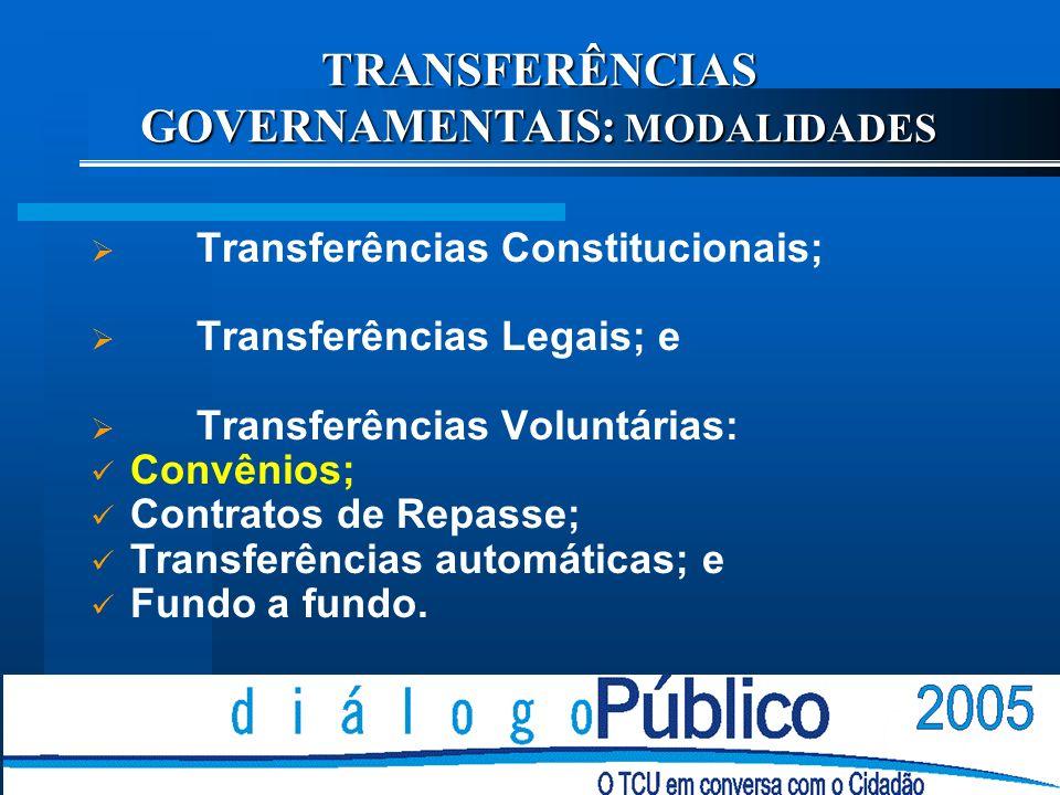 TRANSFERÊNCIAS GOVERNAMENTAIS: MODALIDADES Transferências Constitucionais; Transferências Legais; e Transferências Voluntárias: Convênios; Contratos de Repasse; Transferências automáticas; e Fundo a fundo.