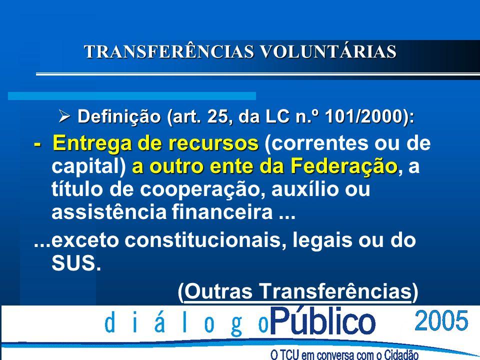 TRANSFERÊNCIAS GOVERNAMENTAIS: MODALIDADES Transferências Constitucionais; Transferências Legais; e Transferências Voluntárias: Convênios; Contratos d