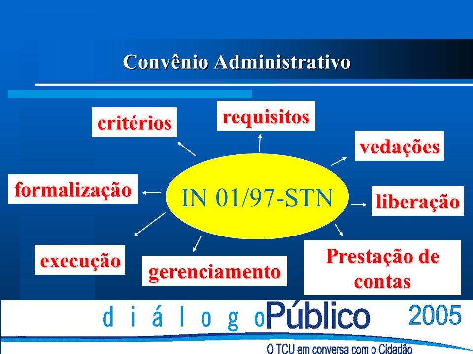 Convênio Administrativo IN 01/97-STN critérios formalização execução gerenciamento Prestação de contas liberação vedações requisitos