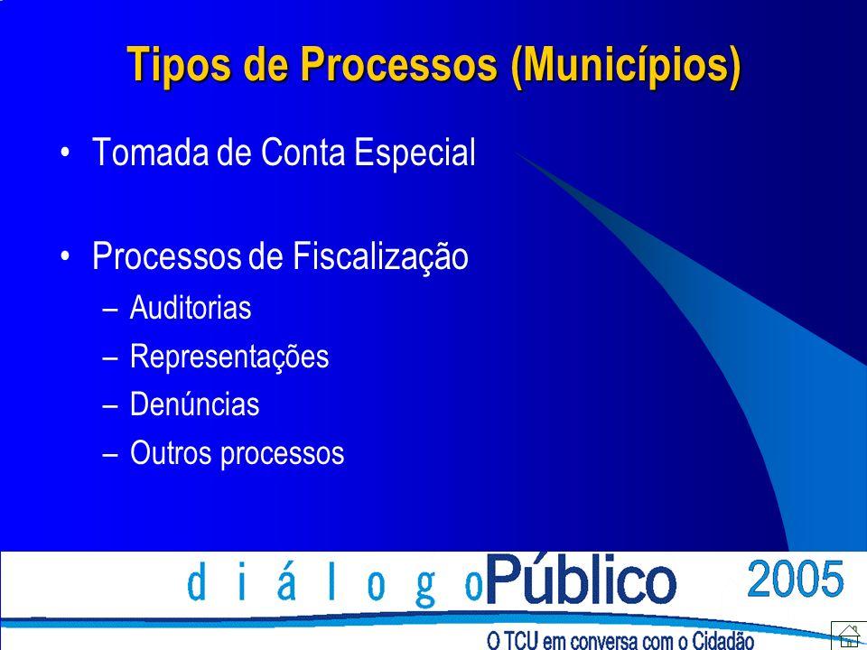 Tipos de Processos (Municípios) Tomada de Conta Especial Processos de Fiscalização –Auditorias –Representações –Denúncias –Outros processos
