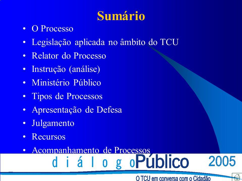 O Processo Legislação aplicada no âmbito do TCU Relator do Processo Instrução (análise) Ministério Público Tipos de Processos Apresentação de Defesa J