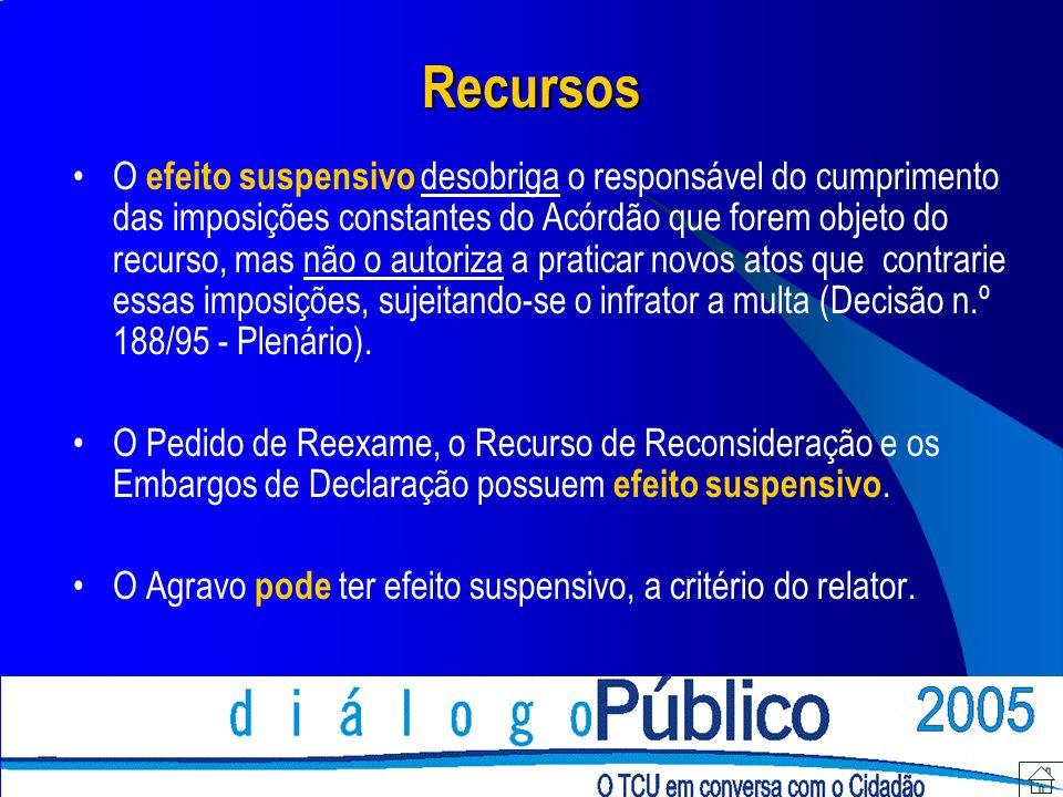 Recursos O efeito suspensivo desobriga o responsável do cumprimento das imposições constantes do Acórdão que forem objeto do recurso, mas não o autori